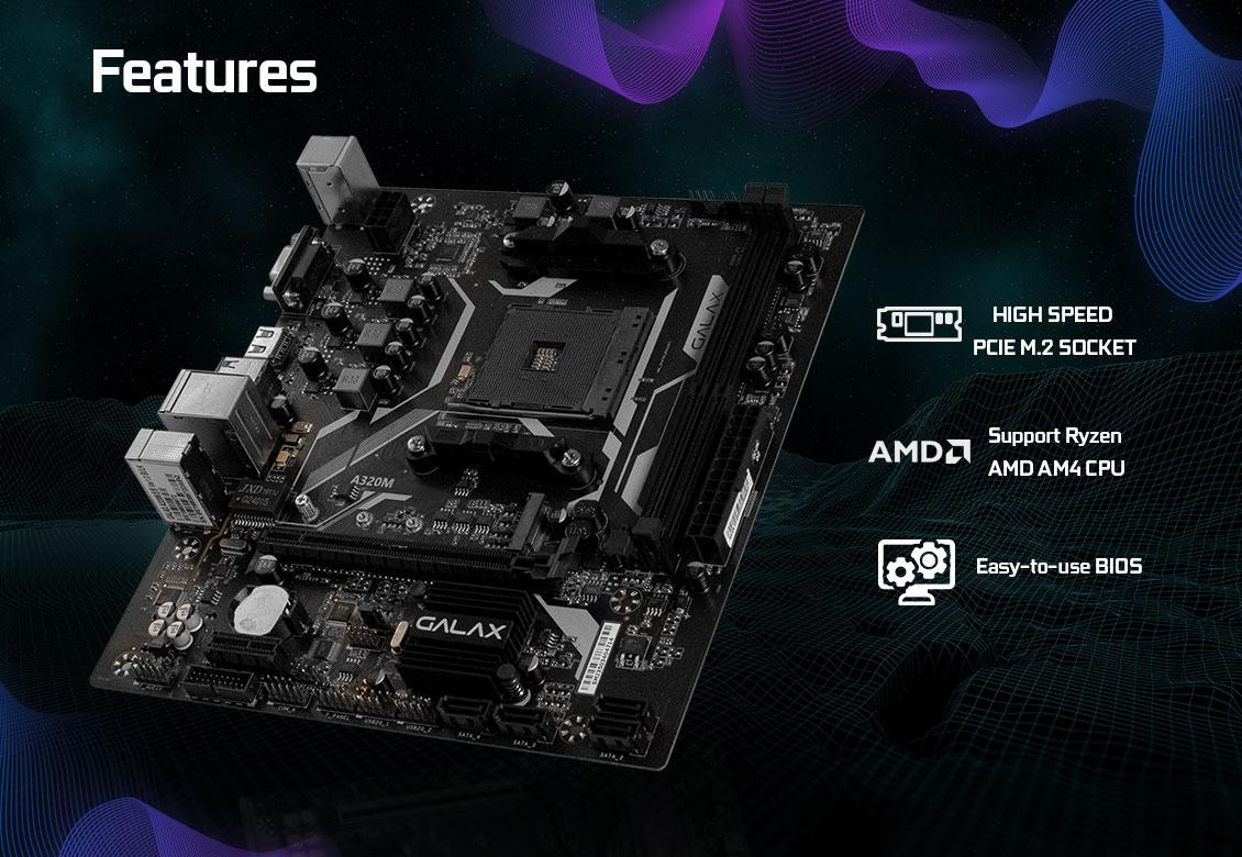 Mainboard GALAX A320M (AMD A320, Socket AM4, m-ATX, 2 khe RAM DDR4)
