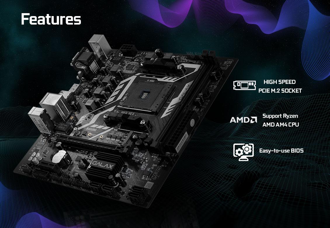 Mainboard GALAX B450M (AMD B450, Socket AM4, m-ATX, 2 khe RAM DDR4)