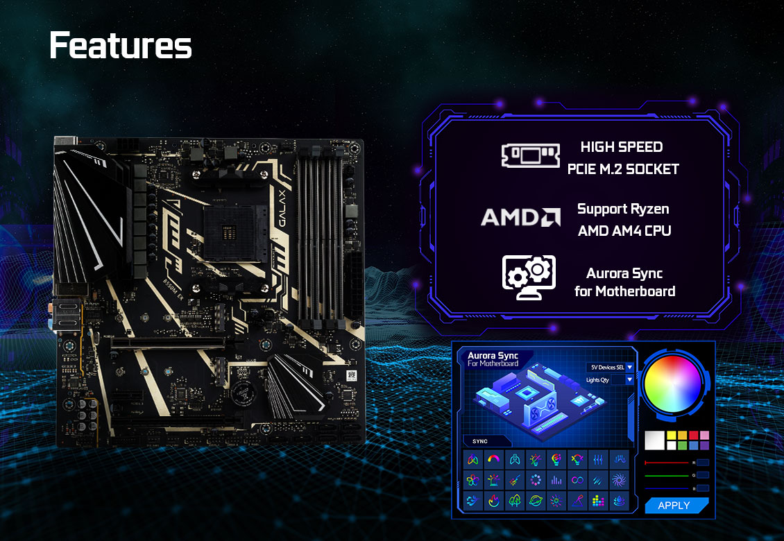 Mainboard GALAX B550M EX (AMD B550, Socket AM4, m-ATX, 4 khe RAM DDR4)