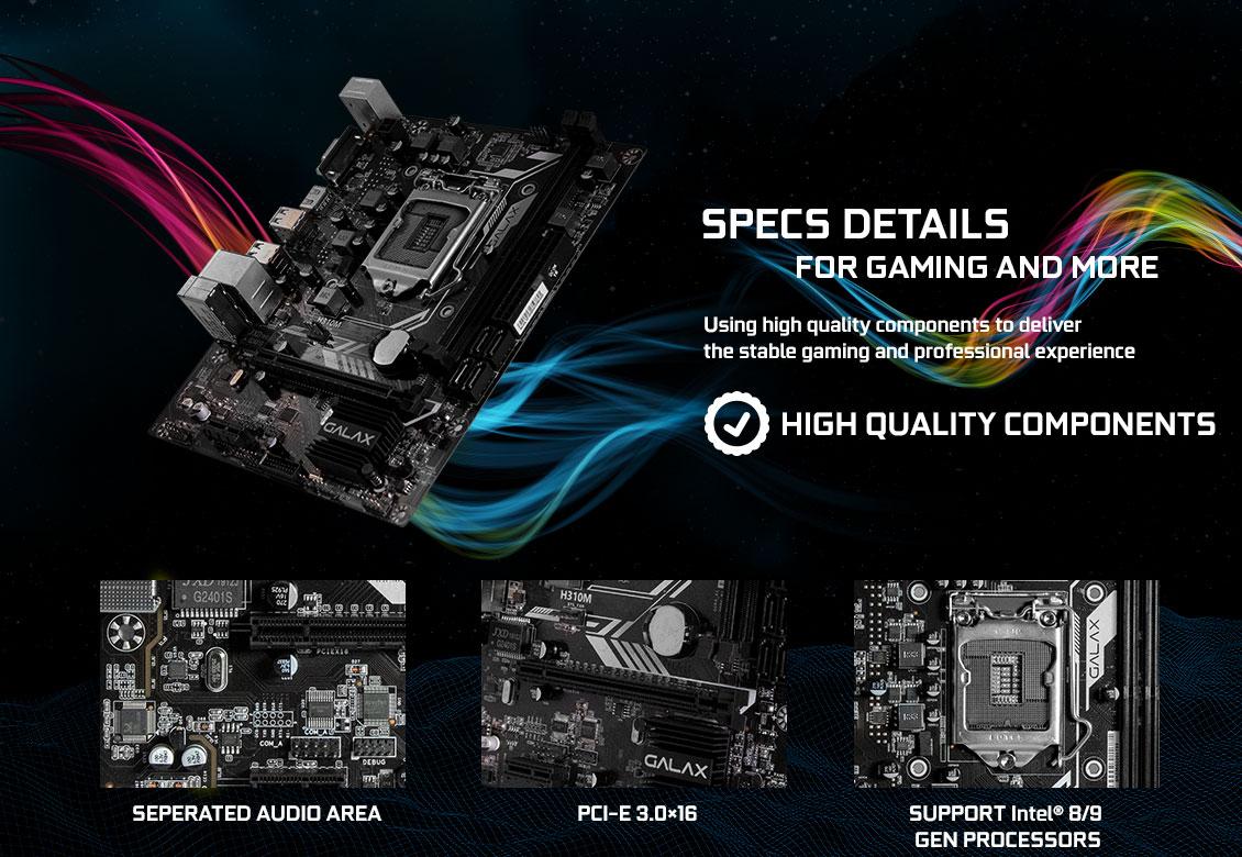 Mainboard GALAX H310M (Intel H310, Socket 1151, m-ATX, 2 khe RAM DDR4)