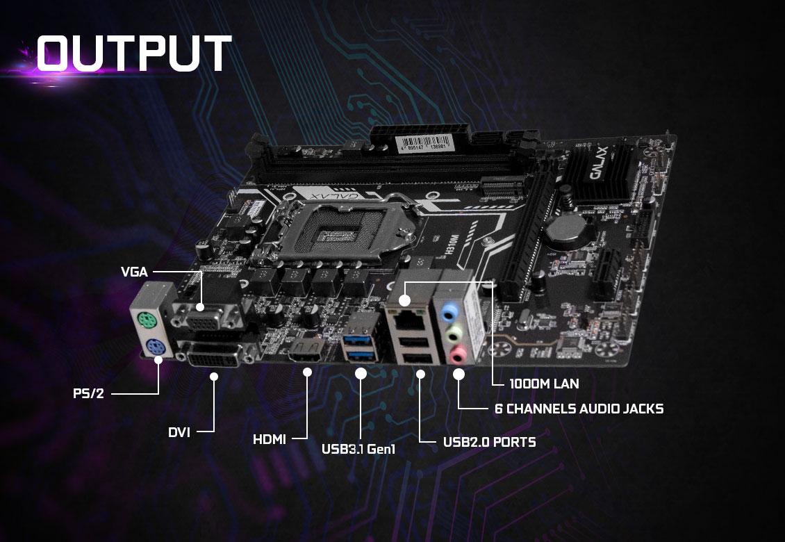 Mainboard GALAX H310M PLUS+ (Intel H310, Socket 1151, m-ATX, 2 khe RAM DDR4)