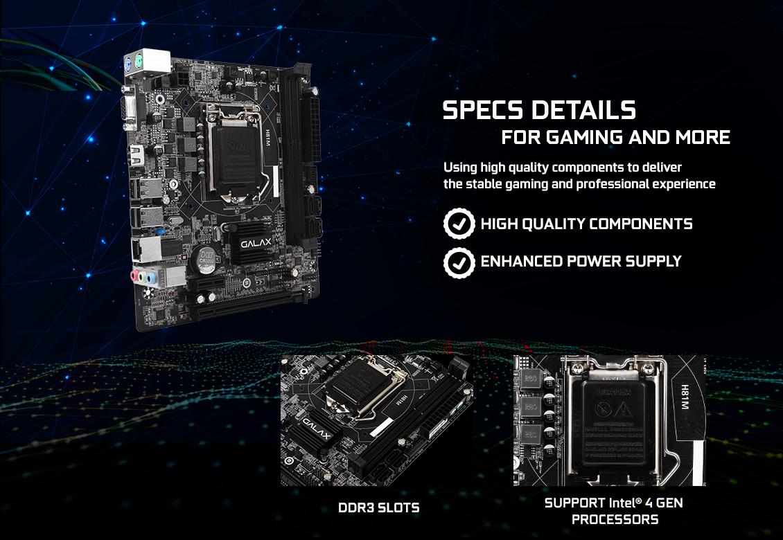 Mainboard GALAX H81M (Intel H81, Socket 1150, m-ATX, 2 khe RAM DDR3)