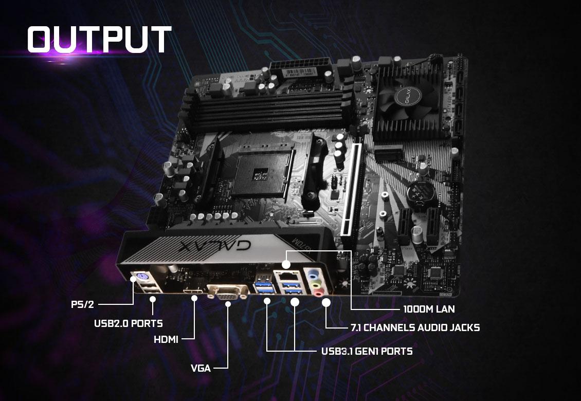 Mainboard GALAX X570M (AMD X570, Socket AM4, m-ATX, 4 khe RAM DDR4)